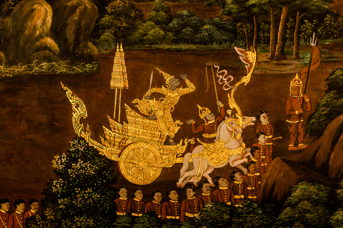 Art,Wall,On,The,Myth,Of,Ramayana,Story,In,The